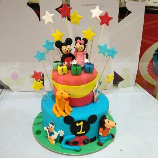 Phenomenal Send Mickey Minnie Mouse Theme 2 Tier Fondant Cake To Ghaziabad Personalised Birthday Cards Vishlily Jamesorg